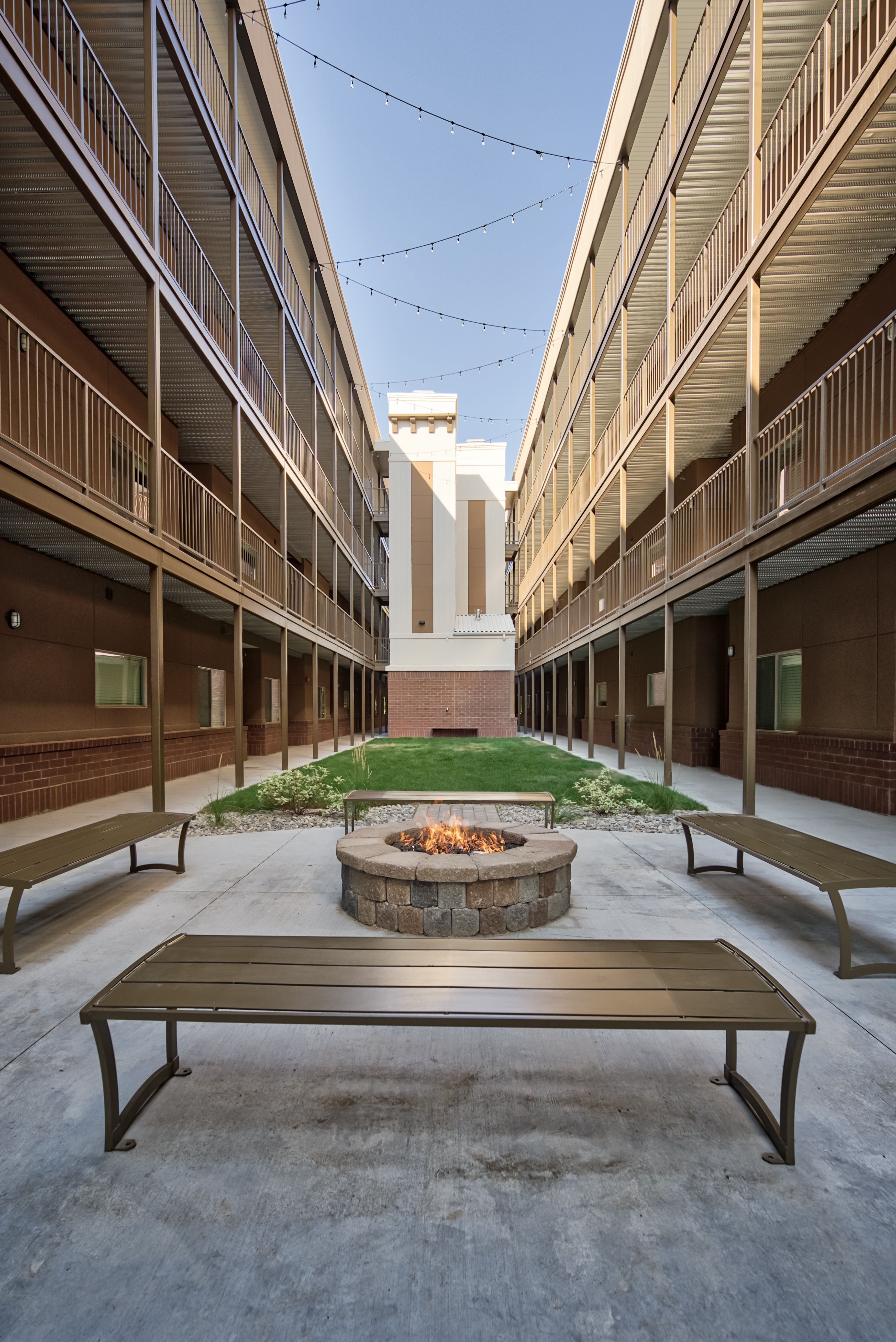 The courtyard is the social hub of The Landing, with two large fire pits and a grill, it is a great space to spend time with friends.