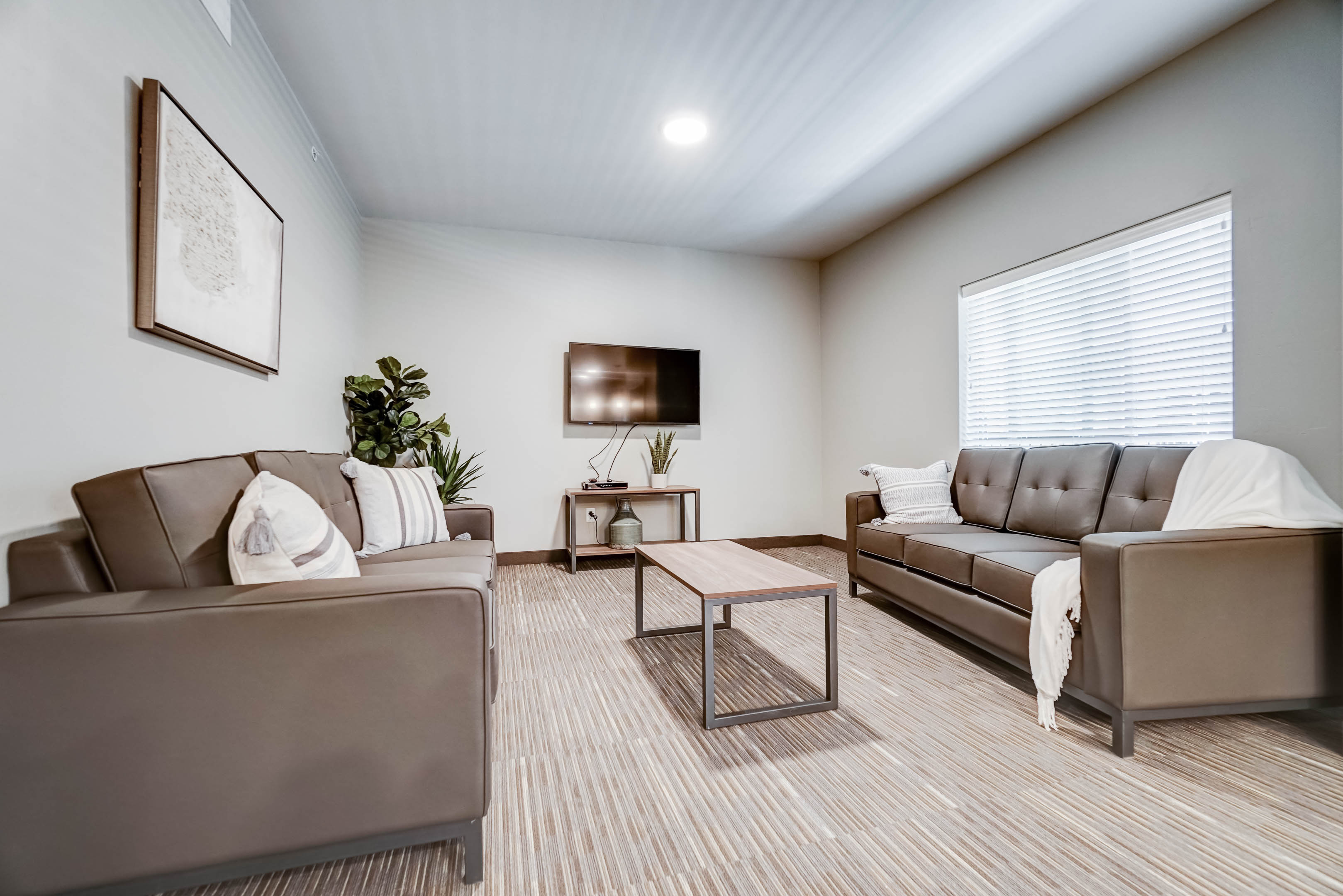 "The living room has two full size couches with a mounted 50"" 4K flat-screen TV and extra soft upgraded carpet"