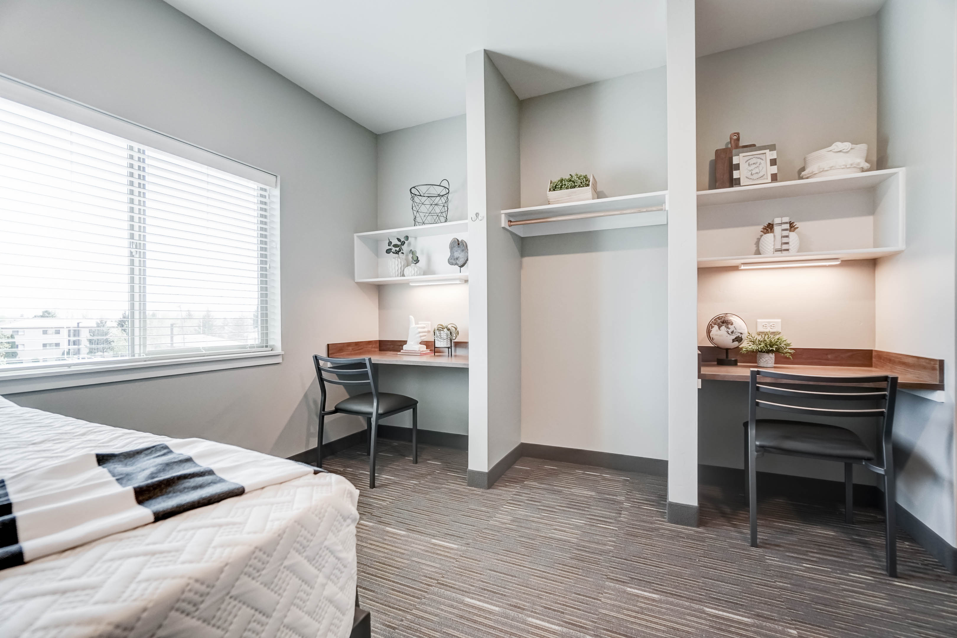 All bedrooms come with built-in desks, personal closets, and lots of storage under the bed.